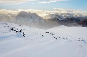 Schneetreiben über Glencoe, Fotoreise Schottland