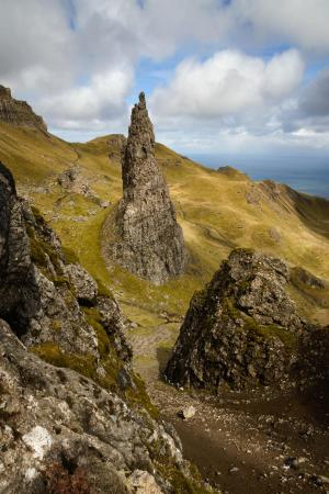 Bizarre Felsnadel am Old Man of Storr, Isle of Skye